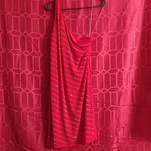 Red Silver Studded One Shoulder Dress